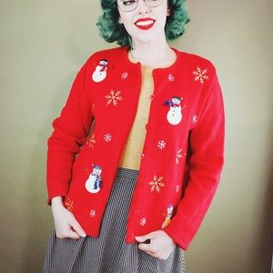 """Sweaters - Vintage Red Knit """"Ugly Christmas"""" Cardigan"""